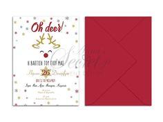 Προσκλητήρια βάπτισης, προσκλητήριο αγοράκι, χριστουγεννιάτικο προσκλητήριο, ελαφάκι, annassecret, Χειροποιητες μπομπονιερες γαμου, Χειροποιητες μπομπονιερες βαπτισης Oh Deer, Design