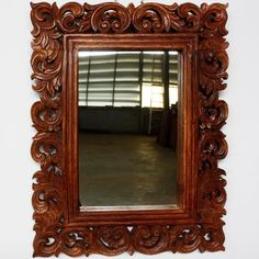 Mirror vine and leaf wood framed brown stain and wax finish . . . Hand carved #thaidecor