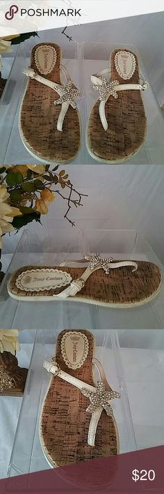 Juicy Couture Flip Flops Leather & Cork Bling Sz 8 Cute Juicy Couture. Flip Flops, sandals, have blinged. Starfish.  Shoes shows some pre-owned wear, please view all photos provided.  Size: 8 Juicy Couture Shoes Sandals