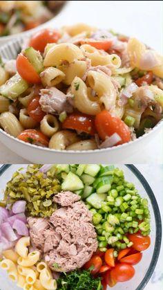 Salad Recipes Healthy Lunch, Healthy Pasta Salad, Tuna Recipes, Healthy Pastas, Pasta Salad Recipes, Veggie Pasta Salads, Vegetable Salad, Seafood Recipes, Easy Cold Pasta Salad