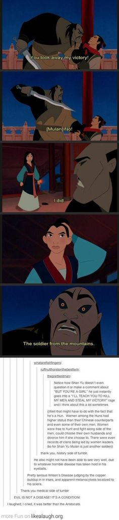 That awkward moment when the Huns were proven to have a better structure of society then the people in China who we were suppose to be rooting for! XD Hahaha!!! The comments are too good! #Mulan