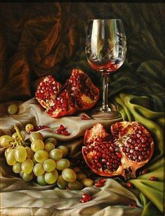 Maria Ilieva is an oil painting artist who was born in Bulgaria. Her floral still life paintings and figurative oil paintings are much appreciated by art lovers. Wine Painting, Fruit Painting, Mural Painting, Painting Canvas, Pomegranate Art, Dutch Still Life, Hyper Realistic Paintings, Still Life Fruit, Still Life Oil Painting