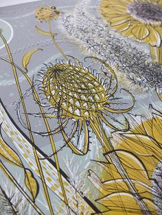 Angie Lewin - detail from Autumn Garden, Norfolk - screen print
