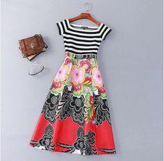 Long flowery dress/ stripes