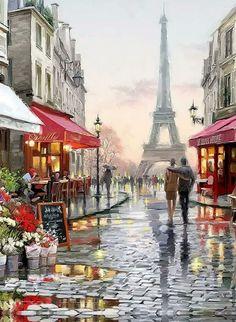 Travel Art Painting Paris France 67 Ideas For 2019 Fantasy Landscape, Landscape Photos, Francia Paris, Paris Wallpaper, Clip Art Pictures, City Aesthetic, Acrylic Painting Canvas, Travel Couple, Portrait Art