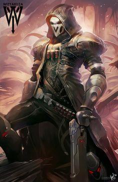 "pixalry: ""Overwatch Fan Art - Created by Ceasar Ian Muyuela"" Overwatch Fan Art, Overwatch Short, Faucheur Overwatch, Overwatch Reaper, Overwatch Wallpapers, Widowmaker, Star Wars, Manga Comics, Dark Anime"