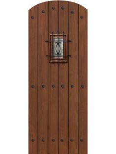 Plank Arch Top Cherry, Alder & Walnut Door with Speakeasy & Clavos • 8´ 0˝ Tall