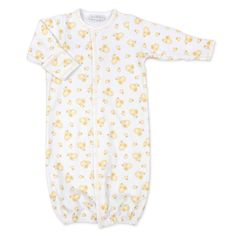 Pima cotton converter gown for easy transition from playtime to bedtime.  Coordinates with other items in theLittle Quacker Collection Covered Snap Plackets 100% Pima Cotton Imported, Made in Peru Machine Washable