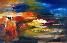 Landschap-abstract!, schilderij van Irene van Uxem | Abstract | Modern | Kunst