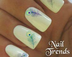 Nail Decals 20 Peacock Feather  Vinyl Adhesive Decals Nail Tattoos  Nail Art