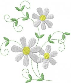 Daisy Vine embroidery design  AnnTheGran.com