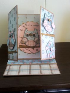 Gate fold easel card made with woodware owl stamp set and papers to match.
