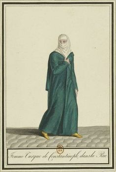 Gatine, Georges-Jacques, Costumes orientaux inédits, 1818, Femme turque de Constantinople, dans la rue, Gallica, BnF Empire Ottoman, The Turk, Bnf, Embroidered Silk, Outdoor Outfit, Islamic Art, Istanbul, Costumes, Portrait