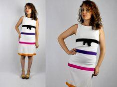 60s Striped Dress / Scooter Dress / Baby Doll Dress / Lolita Dress / Twiggy Dress / GoGo Dress MOD Knee Length size S - M