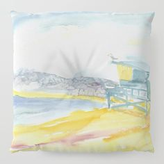 Iconic Venice Beach Floor Pillow by laurimatisse Floor Pillows, Throw Pillows, Beach Watercolor, Venice Beach, Matisse, Flooring, Fun, Fashion, Fashion Styles