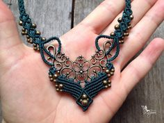 Micro macrame necklace elven jewelry emerald by creationsmariposa, $52.00