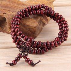 Sandalwood Mala Meditation Beads Prayer Bracelet - For The Love of Boho Buddha Jewelry, Buddha Beads, Buddhist Prayer, Buddhist Meditation, Buddhism, Beaded Necklace, Beaded Bracelets, Metal Bracelets, Wood Bracelet