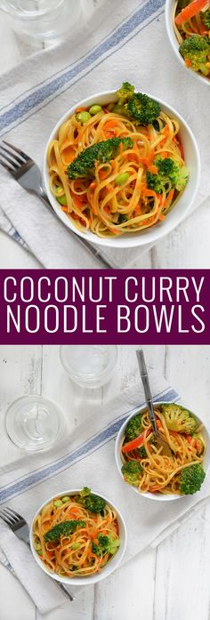 Vegan Coconut Curry Noodle Bowls! 2 servings of vegetables in every bowl! Linguini & Vegetables simmered in a coconut red curry sauce. Ready in less than 30 minutes!