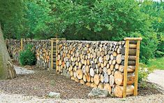 If you have to cut down a tree in your garden, or you if you find some interesting wood logs during your walk in the forest, you can keep them and reuse them as original decorations. Let's discover 15 fresh ideas of what you can do with wood logs! Cheap Garden Fencing, Log Fence, Landscape Design, Garden Design, Log Wall, Pallet Building, Tree Logs, Walled Garden, Wood Logs