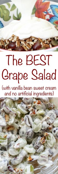 Sweet grapes, crunchy pecans, and vanilla bean sour cream are combined in this unexpected and delicious Grape Salad with vanilla bean sweet cream.