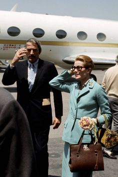 "With her ""Kelly Hermes"" bag. Iconic Travel Style - Grace Kelly, 1971 with Gregory Peck"
