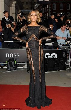 Goddess: Model Jourdan Dunn steals the show in a cut away floor-skimmer that left nothing to the imagination