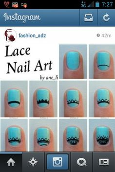 Here& a tutorial for the lace nails Description below ? Apply a basecoat and paint your nails a solid color Make a slightly curved line near? Lace Nail Design, Lace Nail Art, Lace Nails, Nail Art Hacks, Nail Art Diy, Diy Nails, Nail Polish Art, Trendy Nail Art, Manicure E Pedicure