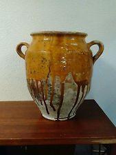 Antique South French Pottery Confit Pot Yellow Glazed Ceramic Pot a Graisse