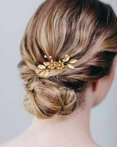 Davie & Chiyo | Hair Accessories & Veils Indra Comb Gold Pins, Combs + Clip
