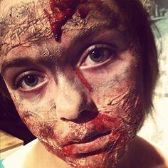 Kiddo's zombie makeup #zombie #Halloween