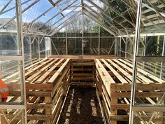 Diy greenhouse staging from used pallets : woodworking Greenhouse Tables, Greenhouse Staging, Greenhouse Shelves, Pallet Greenhouse, Build A Greenhouse, Greenhouse Interiors, Greenhouse Ideas, Greenhouse Gardening, Potted Fruit Trees