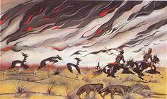 Blackbear Bosin Paintings | prairie fire poster by blackbear bosin