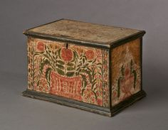 """10 ½"""", W. 17 ¼"""", D. Date / Circa: c. Maker / Origin: Lehigh Valley, Pennsylvania Medium: Pine with the original extraordinary paint-decorated finish. Interior fitted with a till. Decorative Boxes, Painting On Wood, Scandinavian Folk Art, Paint Designs, Painted Boxes, Painted Chest, Primitive Furniture, Decorative Painting, Wooden Boxes"""