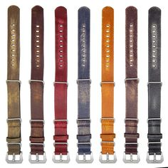 StrapsCo 20mm Red Ultra Distressed Leather G10 Nato Zulu Watch Strap w/ Pre-V Buckle