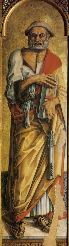 ❤ - CARLO CRIVELLI (1435 – 1495) - Polittico di Montefiore (dettaglio) - San Pietro apostolo. Chiesa di Santa Lucia, Montefiore dell'Aso.