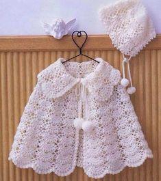 63 ideas crochet baby girl layette projects for 2019 Crochet Baby Poncho, Crochet Baby Sweaters, Crochet Cape, Crochet Girls, Crochet Baby Clothes, Crochet For Kids, Crochet Shawl, Baby Knitting, Knit Crochet