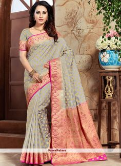 Shop online for sarees and wedding sarees. Buy this art silk grey weaving work designer traditional saree. New Saree Designs, Grey Art, Latest Sarees, Traditional Sarees, Indian Beauty Saree, Exclusive Collection, Saree Wedding, Sarees Online, Dress Up