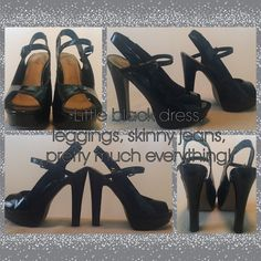 Diba platform, sling backs with ankle buckle. Diba platform, sling backs with ankle buckle. 5.5 inch heel includes 1.5 inch platform. Hot black platform peep toe heels Diba Shoes Heels