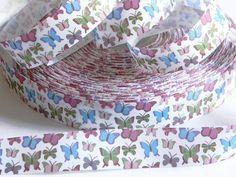 Butterfly Grosgrain 1 Ribbon 5 yards of White w/