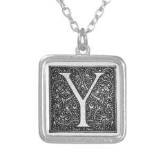 Vintage Illuminated Monogram Letter Y Necklace - vintage gifts retro ideas cyo