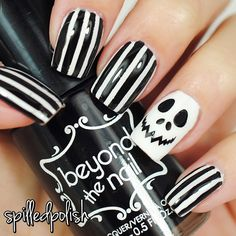 Jack Skellington Nails. #halloween #nailart #notd #indiepolish