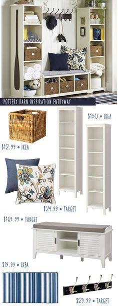 Pottery Barn Entryway Inspiration with Ikea Hacks! (I have a few ideas that would make it even cheaper.) decor pottery barn Pottery Barn Entryway Inspiration with Ikea Hacks! Pottery Barn Entryway, Pottery Barn Hacks, Pottery Barn Decorating, Ikea Hackers, Home Organization, Home Projects, Diy Furniture, Small Spaces, New Homes