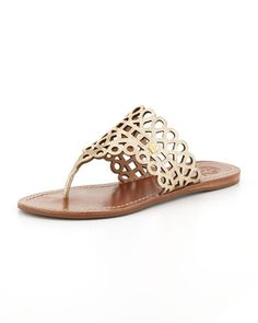 Davy Laser-Cut Thong Sandal, Platinum by Tory Burch at Neiman Marcus.