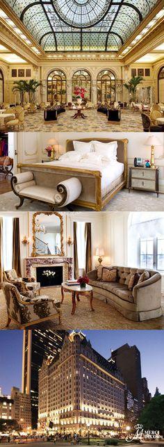 The Plaza, New York, Estados Unidos. Localizado na 5ª avenida em frente ao Central Park, o hotel mantém seu estilo com decorações opulentes e elegantes. Diárias a partir de R$ 1.350,00. http://www.theplazany.com/