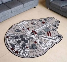 Star Wars and Star Trek Area Rugs. You can choose to geek out with either The Official Star Wars Millenium Falcon Rug or the … Star Wars Decor, Decoration Star Wars, Star Wars Bedroom, Star Wars Nursery, Millennium Falcon, Star Wars Kindergarten, Star Wars Zimmer, Star Wars Kitchen, Geek Decor