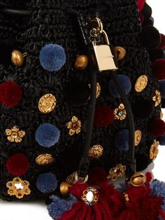 Dolce and Gabbana knitted bucket bag with pom pom Crochet Bowl, Black Weave, Fabric Purses, Basket Bag, Lining Fabric, Knitted Bags, Boho, Purses And Bags, Women Wear