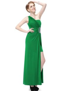 Ever Pretty Split Flirty Rhinestones One Shoulder NWT Long Prom Gown 09542, HE09542GR06, Green, 4US