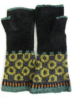 Chenille fingerless gloves by Robin Bergman
