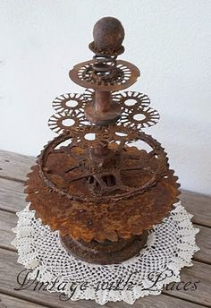 """tree"" made from rusty gears."