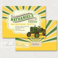Tractor Invitation / Farm Fresh Invitation  by LemonadeMoments, $19.99